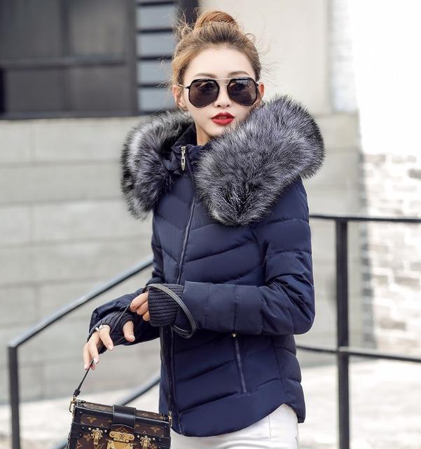 Fake Raccoon Fur Collar Parka Down Cotton Jacket Winter Jacket Women Thick Snow Wear Coat Lady-Jackets & Coats-GZGOG Official Store-Blue-S-EpicWorldStore.com