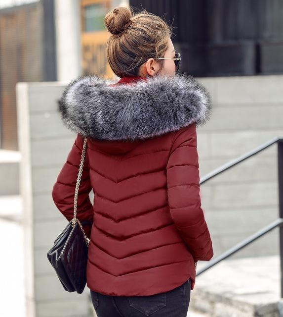Fake Raccoon Fur Collar Parka Down Cotton Jacket Winter Jacket Women Thick Snow Wear Coat Lady-Jackets & Coats-GZGOG Official Store-Burgundy-S-EpicWorldStore.com