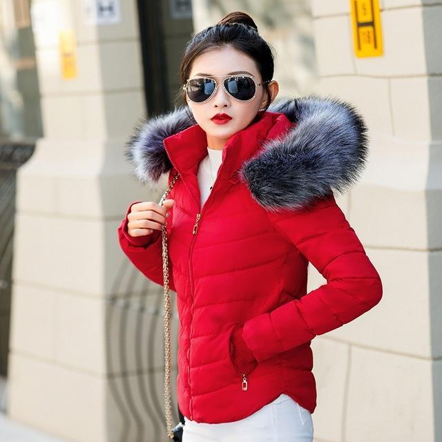 Fake Raccoon Fur Collar Parka Down Cotton Jacket Winter Jacket Women Thick Snow Wear Coat Lady-Jackets & Coats-GZGOG Official Store-Red-S-EpicWorldStore.com