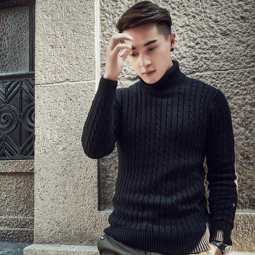 Fall Winter Thick Warm Cashmere Sweater Men Turtleneck Men Brand Mens Sweaters Slim Fit-Pullovers-woodvoice factory Store-Black-M-EpicWorldStore.com
