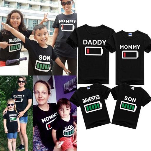 28bfd8a38 Family Clothing Mommy Daughter Son Summer Battery T Shirt Mother&Kids Matching  Outfits Short-Family Matching