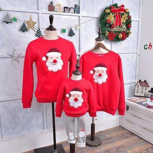 Family Matching Outfits Winter Christmas Sweater Cute Deer Children Clothing Kid T-Shirt Add-Family Matching Outfits-Mom so beatiful Store-P197 red mircovelvet-Mom F-EpicWorldStore.com