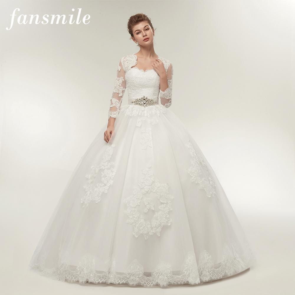 Fansmile Two Piece Long Sleeve Jacket Wedding Dresses Plus Size Bridal Ball  Gowns Vestido De