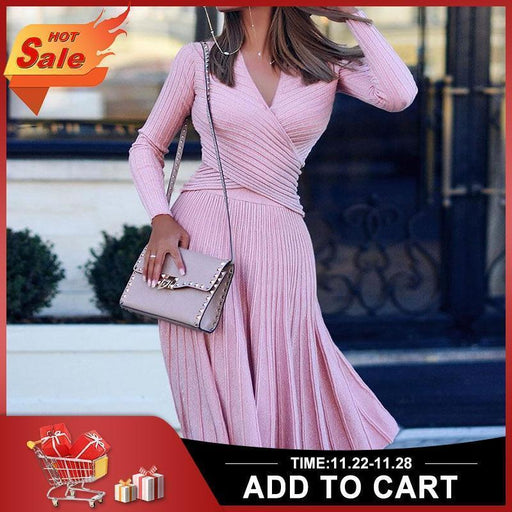 Fashion Designer Pleated Knitted Dress Elegant Women Sweater Winter Dresses Pullovers Black Long-Home-Clocolor Shop Store-Black-M-EpicWorldStore.com