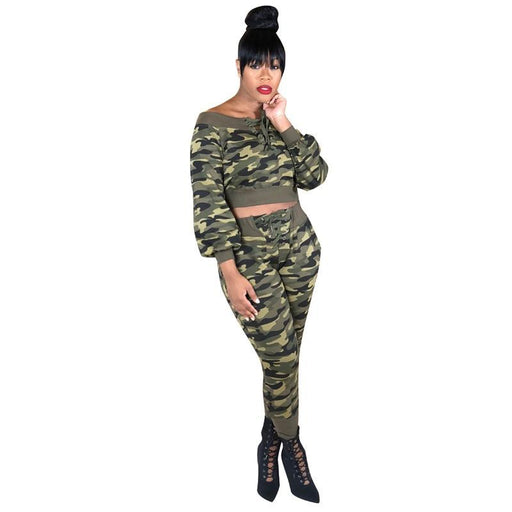 Fashion Tweed Set Camouflage Bandage Jumpsuit Women Tracksuits Two Piece Set Off Shoulder Club-Womens Sets-LadyFirst2 Store-S-EpicWorldStore.com