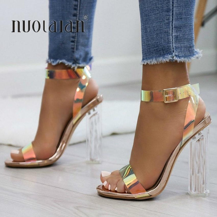 Fashion Women Pumps Celebrity Wearing Simple Style Pvc Clear Transparent Strappy Buckle Sandals High-Women's Pumps-Brand For Your Life-CTMG-4-EpicWorldStore.com