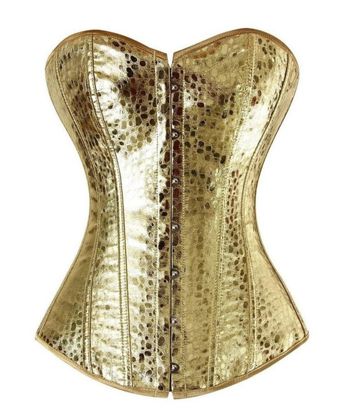 Faux Leather Overbust Corset Gold/Sliver Showgirl Clubwear Burlesque Zipper Costume Lace Up Boned-Bustiers & Corsets-The best corset-GOLD-S-EpicWorldStore.com