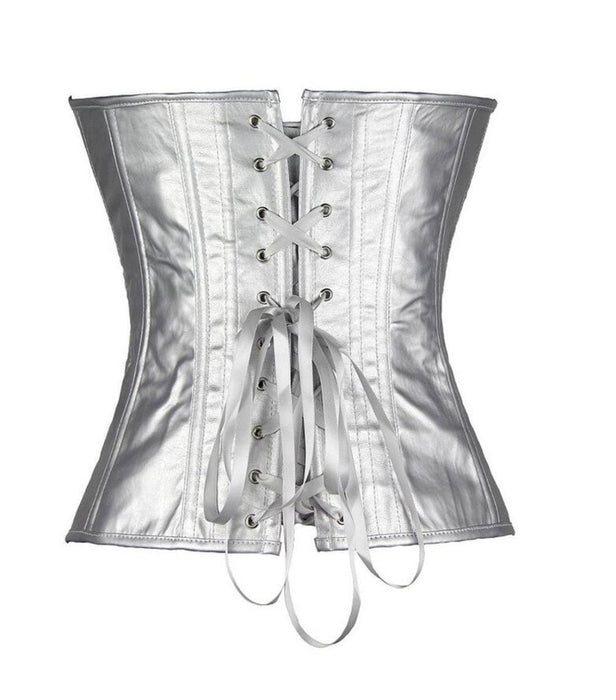 295ffa1f6 Faux Leather Overbust Corset Gold Sliver Showgirl Clubwear Burlesque Zipper  Costume Lace Up Boned-