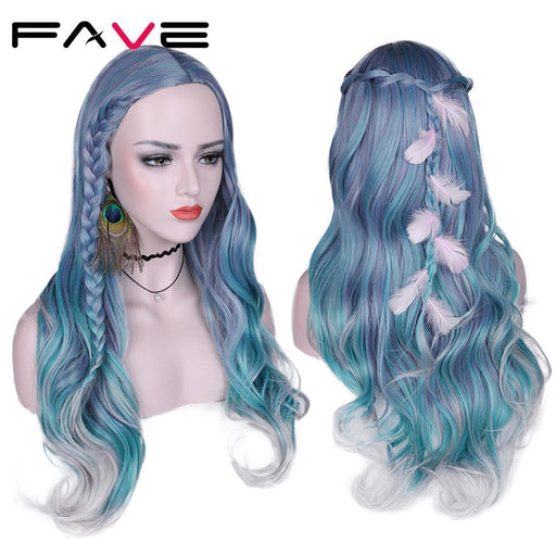 Fave Long Wavy Hair Mixed Violet Blue Green Light Gray Heat Resistant Synthetic Wigs For Women-Synthetic None-Lace Wigs-Fave Hair Store-Blue Green Gray-28inches-EpicWorldStore.com