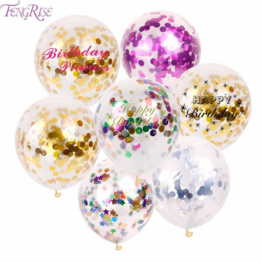 Fengrise 5Pcs 12Inch Inflatable Happy Birthday Balloons Gold Confetti Balloon Birthday Party-Festive & Party Supplies-FENGRISE Memcozy Store-White HB Ribbon-EpicWorldStore.com