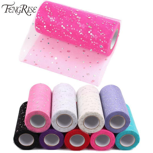 Fengrise Glitter Sequin Tulle Roll 10 25 Yard 15Cm Spool Tutu Wedding Decoration Organza Laser Diy-Festive & Party Supplies-FENGRISE Official Store-Sequin Style 11-EpicWorldStore.com