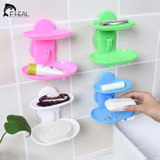 Fheal New Kitchen Tools Bathroom Accessories Soap Holder Two Layer Suction Holder Soap Dish-Bathroom Products-FHEAL Official Store-White-EpicWorldStore.com