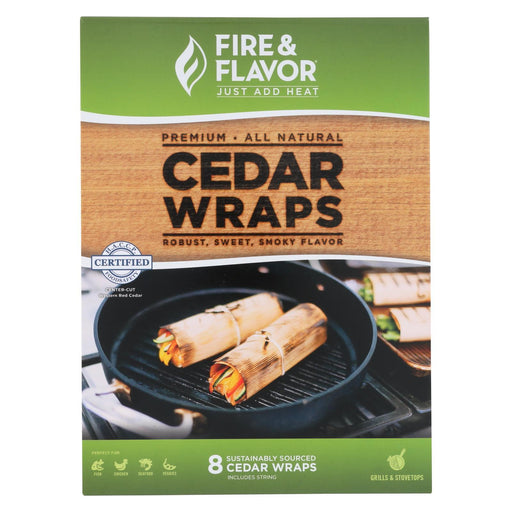 Fire And Flavor Grilling Wraps - Cedar - Case Of 18 - 8 Count-Eco-Friendly Home & Grocery-Fire And Flavor-EpicWorldStore.com