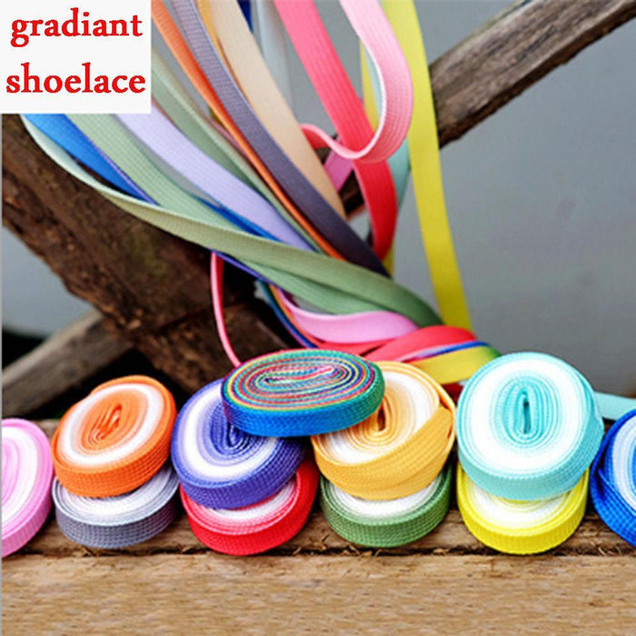 Flat Candy Color Gradient Shoe Laces Party Camping Boots Shoelace Canvas Strings