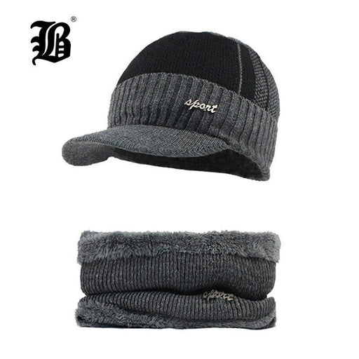 [Flb] Winter Beanies Men Scarf Knitted Hat Caps Mask Gorras Bonnet Warm Baggy Winter Hats For Men-Men's Skullies & Beanies-FLB Official Store-Navy hats-EpicWorldStore.com