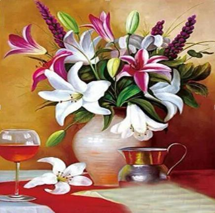Flower arranging 5D DIY diamond Painting flowers  Cross Stitch diamond embroider