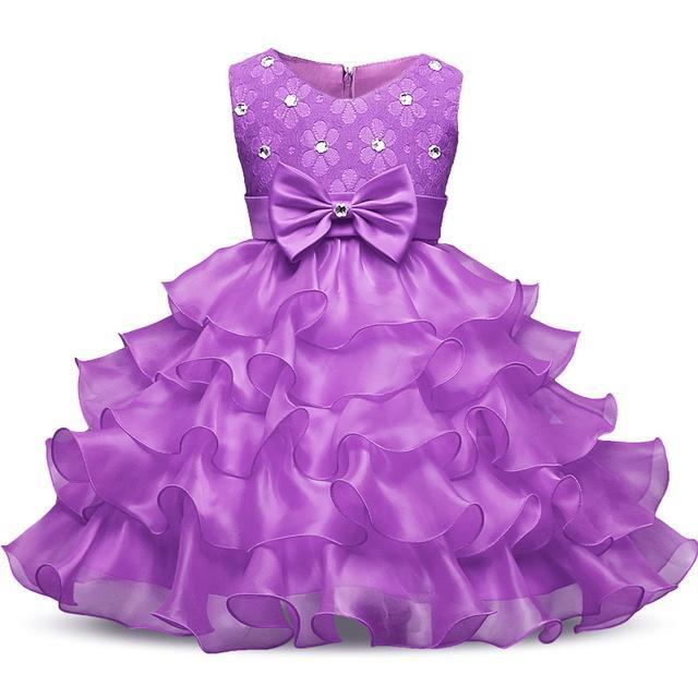 Flower Girl Dress Summer 0 8 Years Floral Baby Girls Dresses Vestidos 9 Colors Wedding Party
