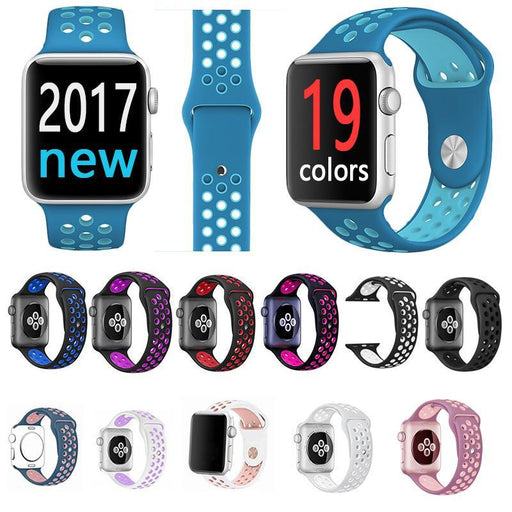 Fohuas Brand Silicon Sports Band Colorful Wrist Strap For Apple Watch 38/42Mm Black/Volt Bracelet-Watch Accessories-Major Watch and Accessories Manufacturer Store-Black Silver-38mm SM-EpicWorldStore.com