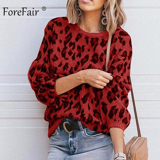 Forefair Casual Leopard Sweater Women Winter Plus Size Lantern Sleeve O Neck Loose Yellow Oversize-Pullovers-forefair Official Store-Green-S-EpicWorldStore.com