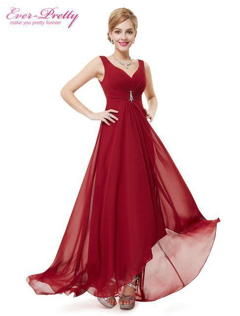 Formal Evening Dresses Ep09983 Ever Pretty Real Photo Plus Size Double V  Neck Rhinestones