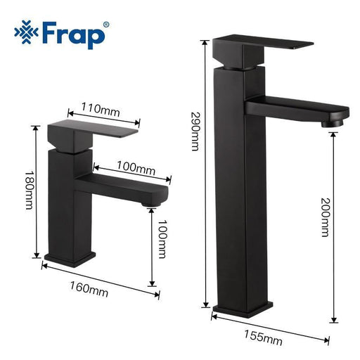 Frap Basin Faucet Black Square Bathroom Sink Faucet Tap Stainless Steel Bathroom Faucet Deck Mounted-Basin Faucets-FRAP 2 Sanitary Store-Y10170-EpicWorldStore.com