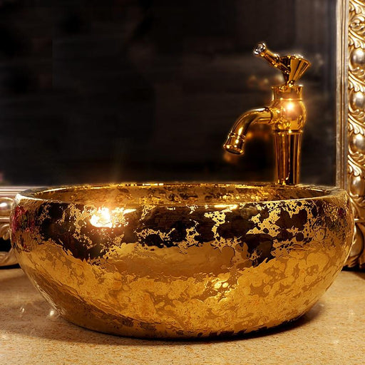 Free Shipping Luxury Hand Made Ceramic Gold Glazed Porcelain Art Bathroom Wash Sink-Bathroom Sinks-Jingdezhen Youngsceramic Store-only sink-EpicWorldStore.com