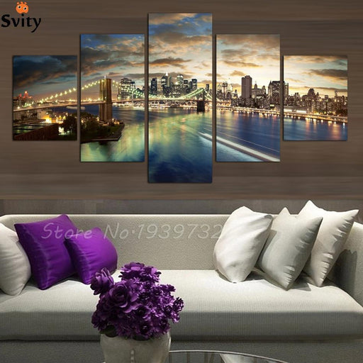 Free Shopping 5 Panels High Quality Home Decor Wall Art Painting Of New York At Night Artwork Custom-Painting & Calligraphy-FASHION HOME DECORATION PAINTING-4x6 4x8 4x10-EpicWorldStore.com