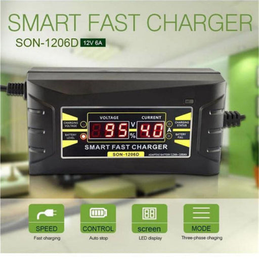 Full Automatic 6A 12V Car Battery Charger 110V To 220V Intelligent Fast Power Charging Wet Dry-Accessories & Parts-prettysale Store-xygu Store-US-EpicWorldStore.com