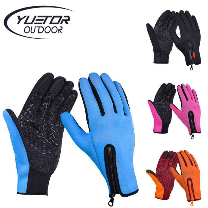 Winter Cycling Gloves Thermal Fleece Warm Bike Bicycle Full Finger Gloves BlueXL