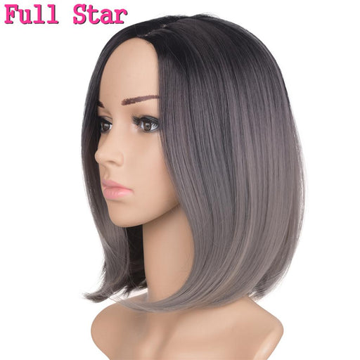 Full Star Black Bob 160G 12Inch Synthetic Wigs For American Woman Ombre Burgundy/Blonde/Silver Short-Full Star Official Store-T1B/27-EpicWorldStore.com