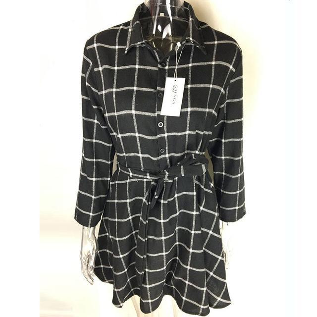 Gacvga New Spring Autumn Dress Women Plaid Turn-Down Collar Cotton Vestidos Casual Tunic Shirt-Dresses-GACVGA GACVGA Store-Black-S-EpicWorldStore.com