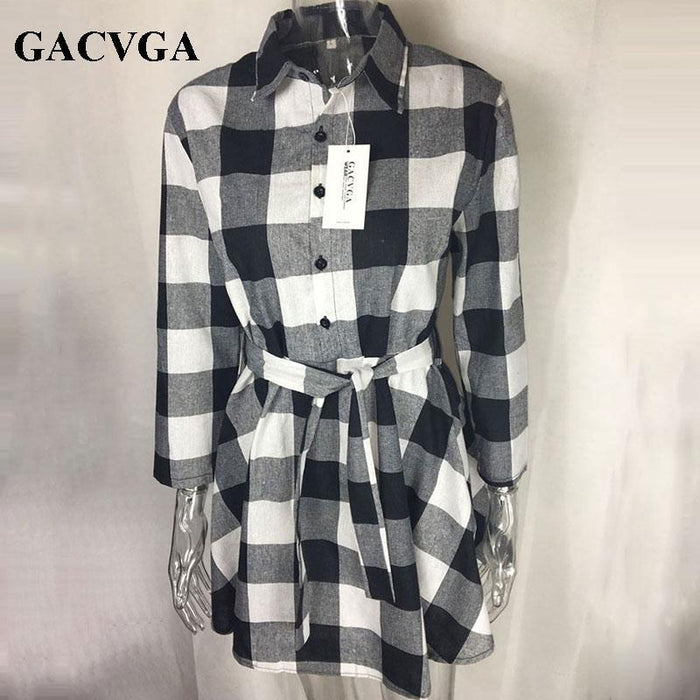 Gacvga New Spring Autumn Dress Women Plaid Turn-Down Collar Cotton Vestidos Casual Tunic Shirt-Dresses-GACVGA GACVGA Store-Black White-S-EpicWorldStore.com