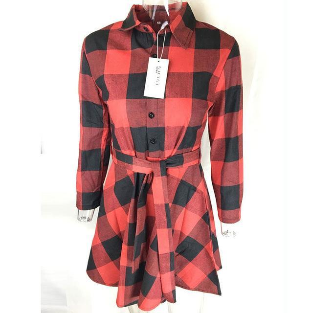 Gacvga New Spring Autumn Dress Women Plaid Turn-Down Collar Cotton Vestidos Casual Tunic Shirt-Dresses-GACVGA GACVGA Store-Red-S-EpicWorldStore.com