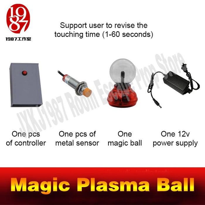 Access Control Kits Access Control Escape Room Magic Plasma Ball Mysterious Puzzle For Chamber Room Touching Ball For Certain Time To Unlock Escape Game Prop