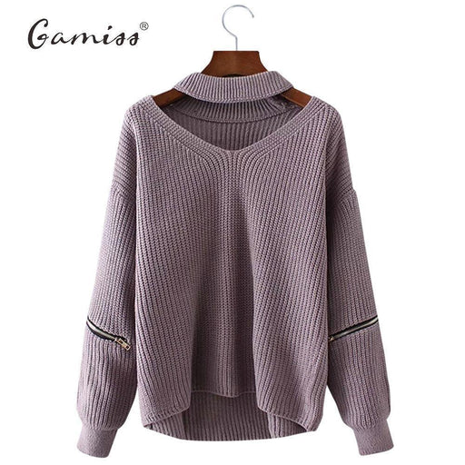 Gamiss Winter Spring Women Sweaters Pullovers Casual Loose Knitted Sweater Women Tricot Pullover-Sweaters-H & R fashion store-Light Purple-EpicWorldStore.com