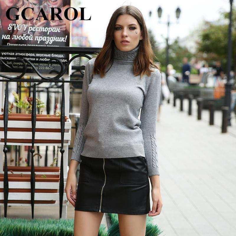 Gcarol Women Turtlneck Sweater Twist Stretch Knitted Pullover Autumn Winter Thick Basic Knit Tops-Sweaters-GCAROL Official Store-Black-S-EpicWorldStore.com