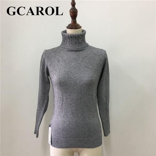 Gcarol Women Turtlneck Sweater Twist Stretch Knitted Pullover Autumn Winter Thick Basic Knit Tops-Sweaters-GCAROL Official Store-Gray-S-EpicWorldStore.com