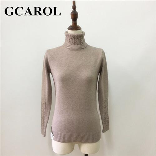 Gcarol Women Turtlneck Sweater Twist Stretch Knitted Pullover Autumn Winter Thick Basic Knit Tops-Sweaters-GCAROL Official Store-Khaki-S-EpicWorldStore.com