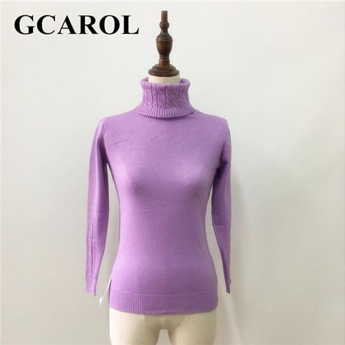 Gcarol Women Turtlneck Sweater Twist Stretch Knitted Pullover Autumn Winter Thick Basic Knit Tops-Sweaters-GCAROL Official Store-Lavender-S-EpicWorldStore.com