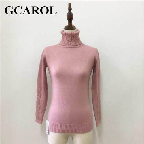 Gcarol Women Turtlneck Sweater Twist Stretch Knitted Pullover Autumn Winter Thick Basic Knit Tops-Sweaters-GCAROL Official Store-Pink-S-EpicWorldStore.com