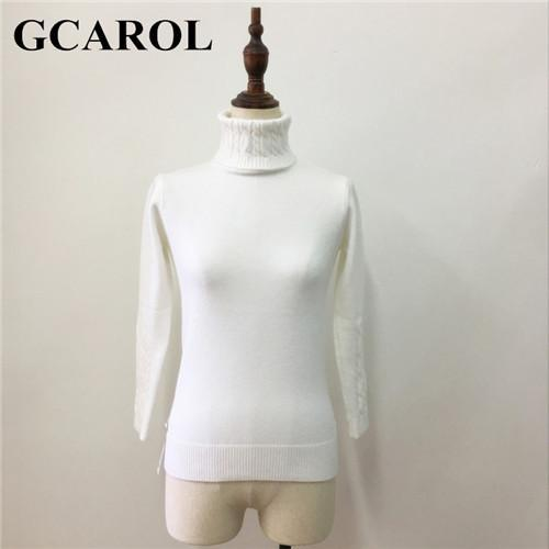 Gcarol Women Turtlneck Sweater Twist Stretch Knitted Pullover Autumn Winter Thick Basic Knit Tops-Sweaters-GCAROL Official Store-White-S-EpicWorldStore.com