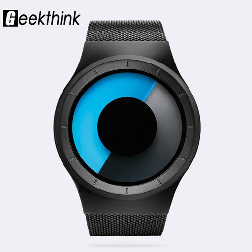 Geekthink Quartz Watches Men Top Luxury Brand Casual Stainless Steel Mesh Band Unisex Watch Clock-Men's Watches-Geekthink Official Store-Black with Box-EpicWorldStore.com