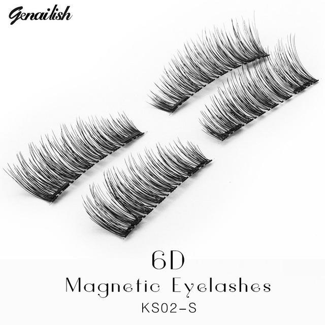 Genailish False Eyelashes 6D Magnetic Lashes Double Magnet Fake Eye Lashes Hand Made Strip Lashes-Makeup-Sexy Eyes Store-KS02-S-EpicWorldStore.com