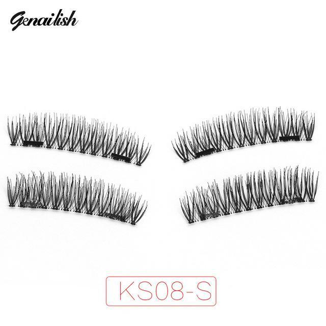 Genailish False Eyelashes 6D Magnetic Lashes Double Magnet Fake Eye Lashes Hand Made Strip Lashes-Makeup-Sexy Eyes Store-KS08-SY-EpicWorldStore.com
