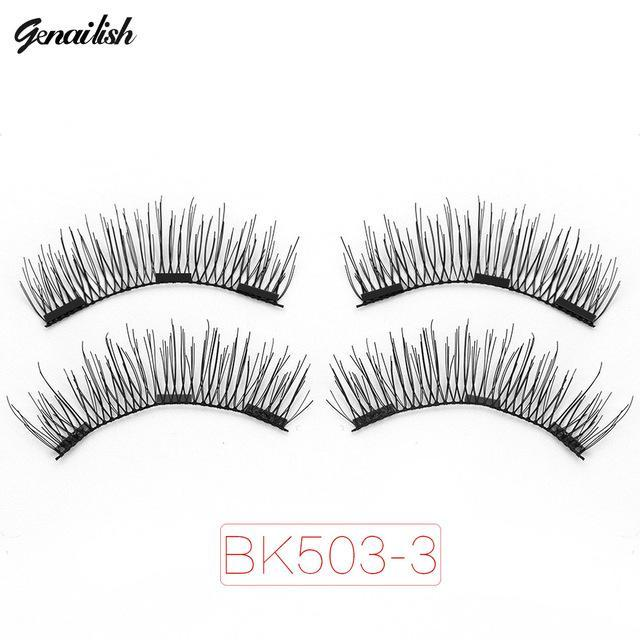 Genailish Magnetic Eyelashes With 3 Magnets Handmade 3D/6D Magnet Lashes Natural False Eyelashes-Makeup-Beautiful Eyelashes Store-BK503-3-EpicWorldStore.com