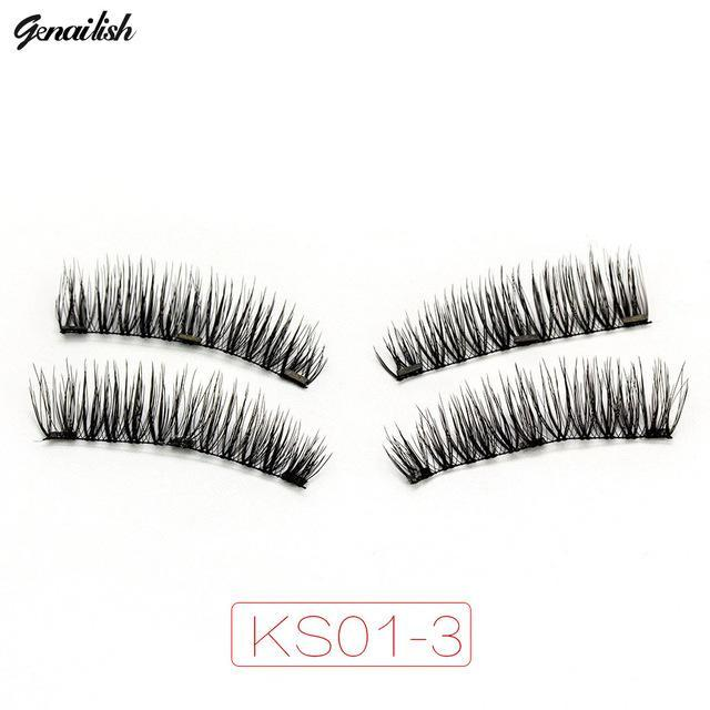 Genailish Magnetic Eyelashes With 3 Magnets Handmade 3D/6D Magnet Lashes Natural False Eyelashes-Makeup-Beautiful Eyelashes Store-KS01-3-EpicWorldStore.com