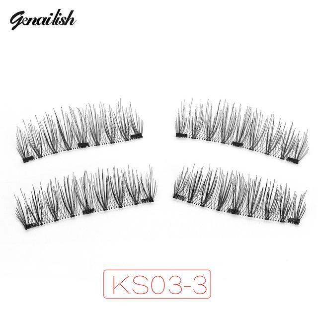 Genailish Magnetic Eyelashes With 3 Magnets Handmade 3D/6D Magnet Lashes Natural False Eyelashes-Makeup-Beautiful Eyelashes Store-KS03-3-EpicWorldStore.com