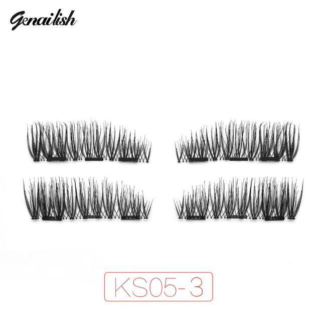Genailish Magnetic Eyelashes With 3 Magnets Handmade 3D/6D Magnet Lashes Natural False Eyelashes-Makeup-Beautiful Eyelashes Store-KS05-3-EpicWorldStore.com