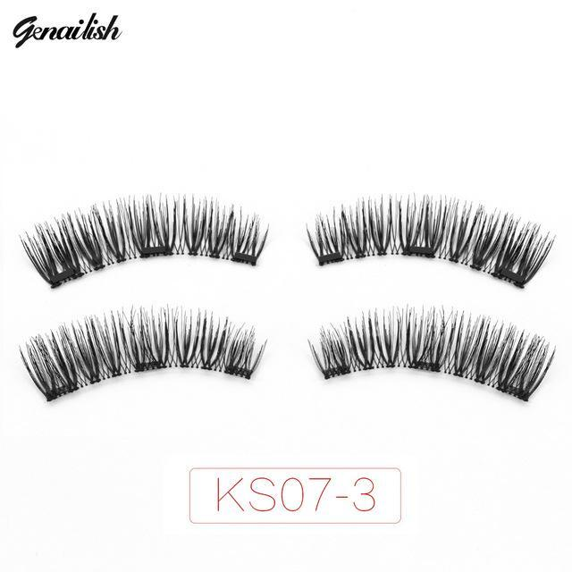Genailish Magnetic Eyelashes With 3 Magnets Handmade 3D/6D Magnet Lashes Natural False Eyelashes-Makeup-Beautiful Eyelashes Store-KS07-3-EpicWorldStore.com
