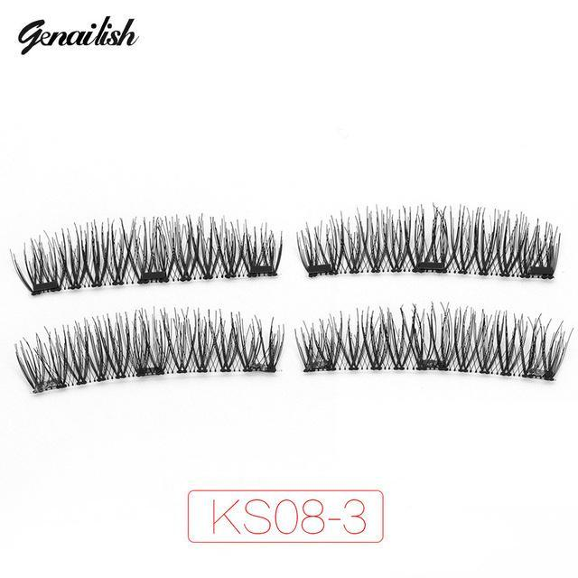Genailish Magnetic Eyelashes With 3 Magnets Handmade 3D/6D Magnet Lashes Natural False Eyelashes-Makeup-Beautiful Eyelashes Store-KS08-3-EpicWorldStore.com